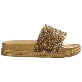 Seastar Modne Klapki Na Platformie srebrny złoty