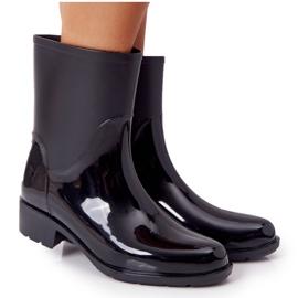 PS1 Błyszczące Kalosze Sztyblety Czarne Rainy Day