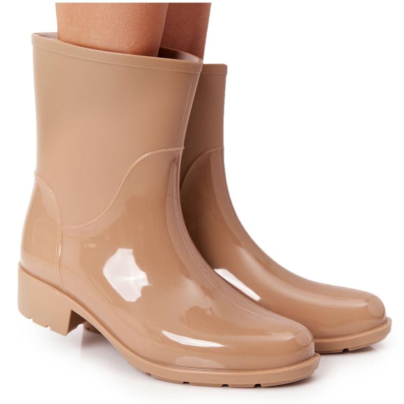 PS1 Błyszczące Kalosze Sztyblety Beżowe Rainy Day beżowy