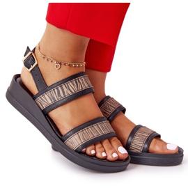 Skórzane Sandały Na Koturnie Laura Messi 2232 Czarne beżowy