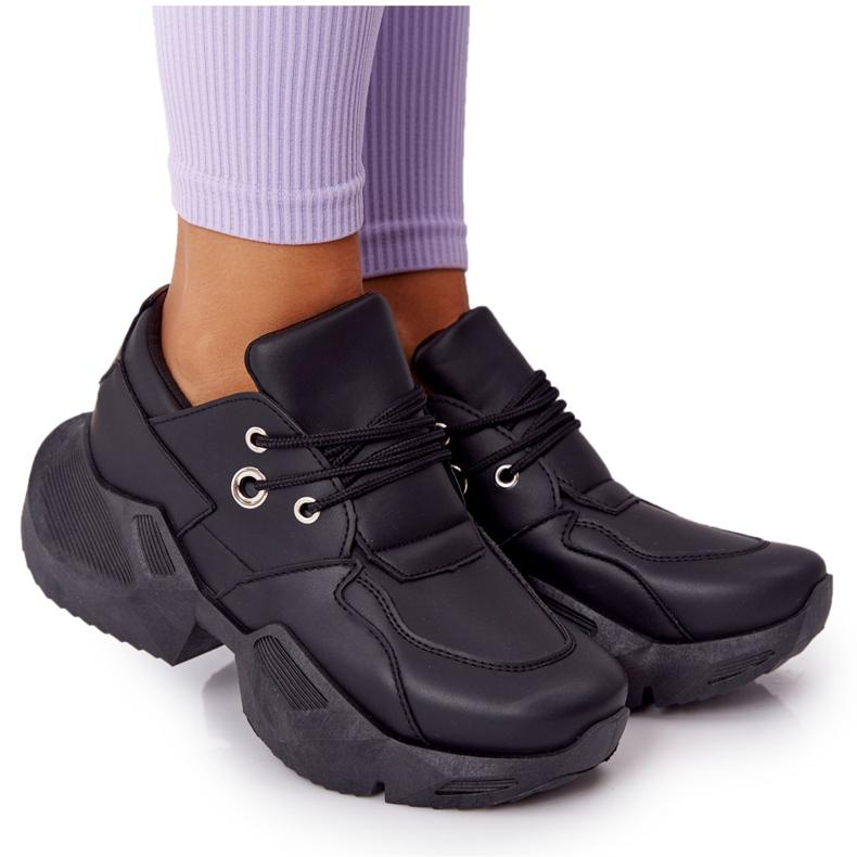 PS1 Damskie Sneakersy Na Masywnej Podeszwie Czarne Bubbly
