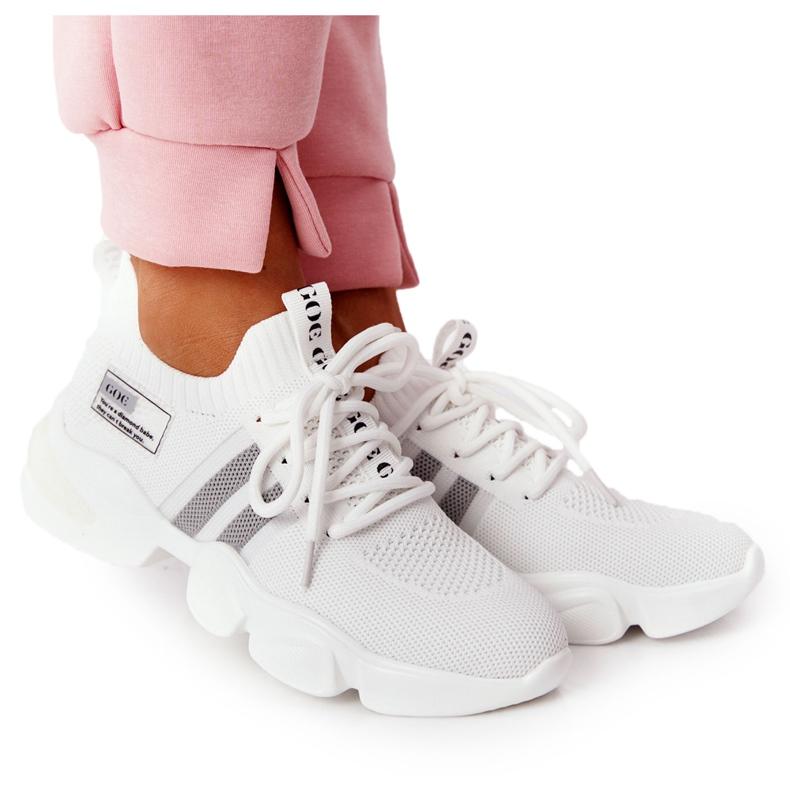 Damskie Sportowe Buty Skarpetkowe GOE HH2N4016 Białe czarne