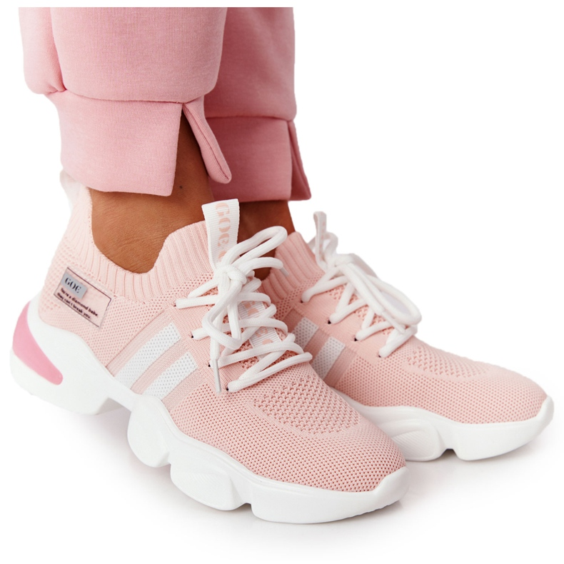 Damskie Sportowe Buty Skarpetkowe GOE HH2N4019 Różowe białe