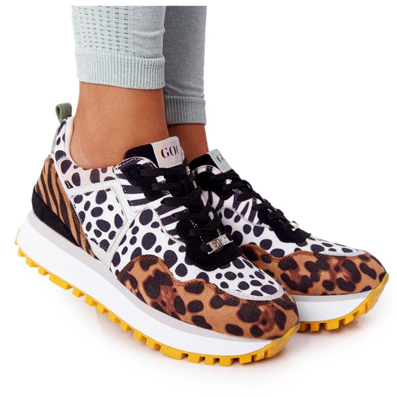 Zamszowe Sportowe Buty Na Platformie GOE HH2N4003 Brązowe białe czarne