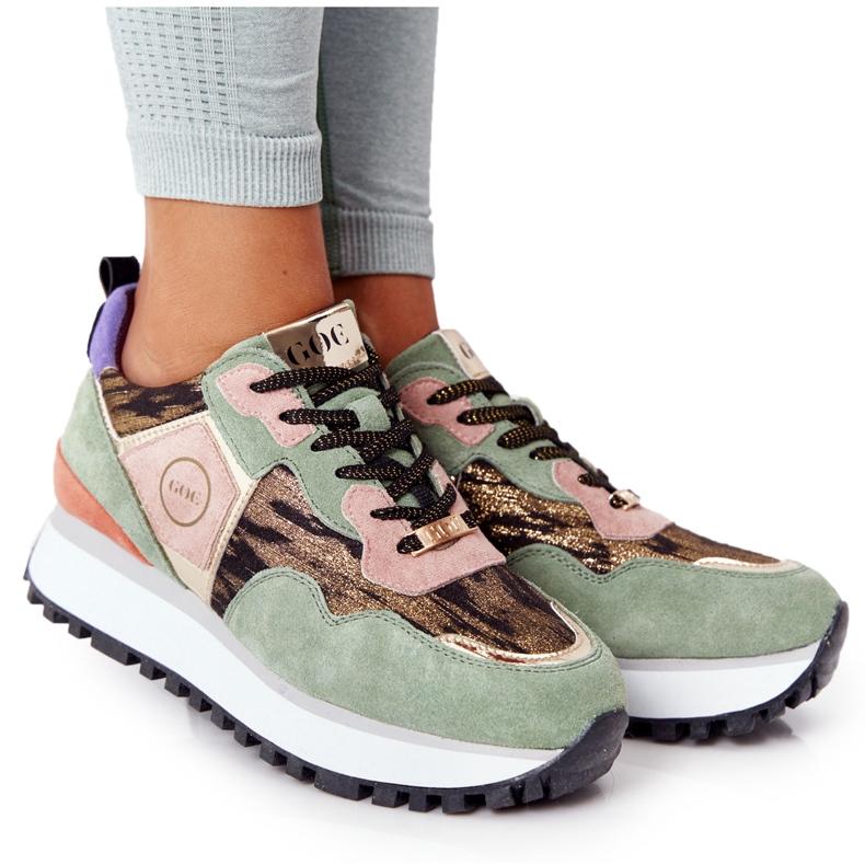 Zamszowe Sportowe Buty Na Platformie GOE HH2N4002 Zielono-Złote beżowy brązowe różowe zielone złoty