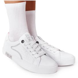 Damskie Skórzane Tenisówki Big Star HH274075 Biało-Srebrne białe srebrny