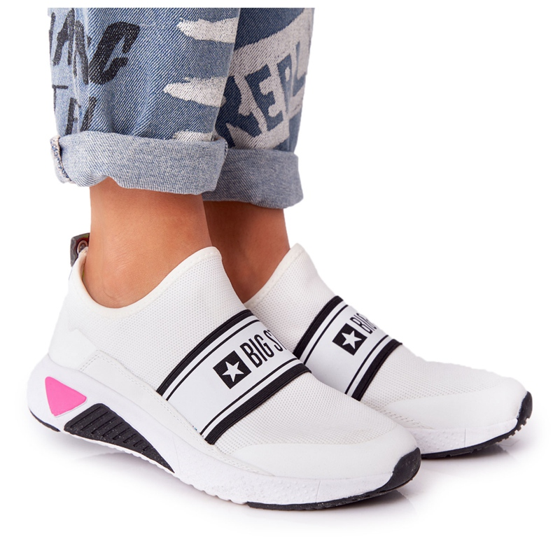 Sportowe Buty Slip-On Memory Foam Big Star HH274538 Białe czarne