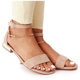 Sandały Na Złotym Obcasie Vinceza 21-17119 Beżowe beżowy