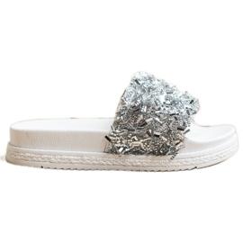 Seastar Klapki Z Kryształkami Fashion białe srebrny