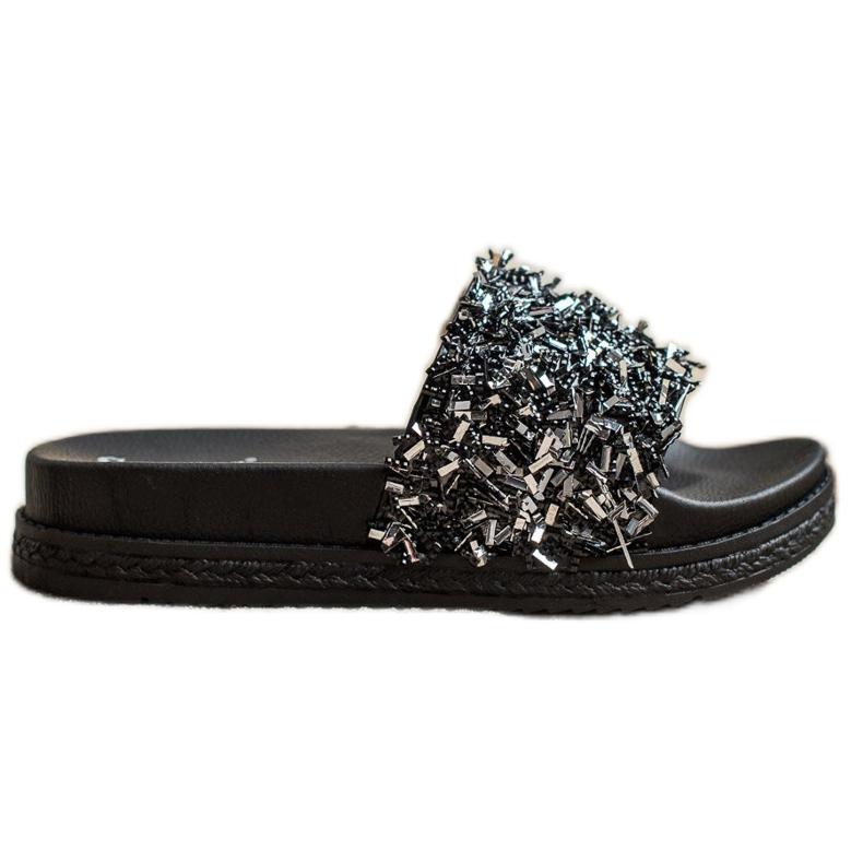 Seastar Klapki Z Kryształkami Fashion czarne