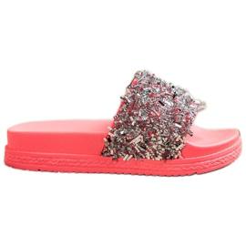 Seastar Klapki Z Kryształkami Fashion czerwone różowe