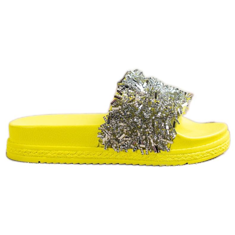 Seastar Klapki Z Kryształkami Fashion srebrny żółte