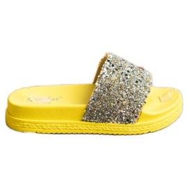 Seastar Modne Klapki Na Platformie srebrny żółte