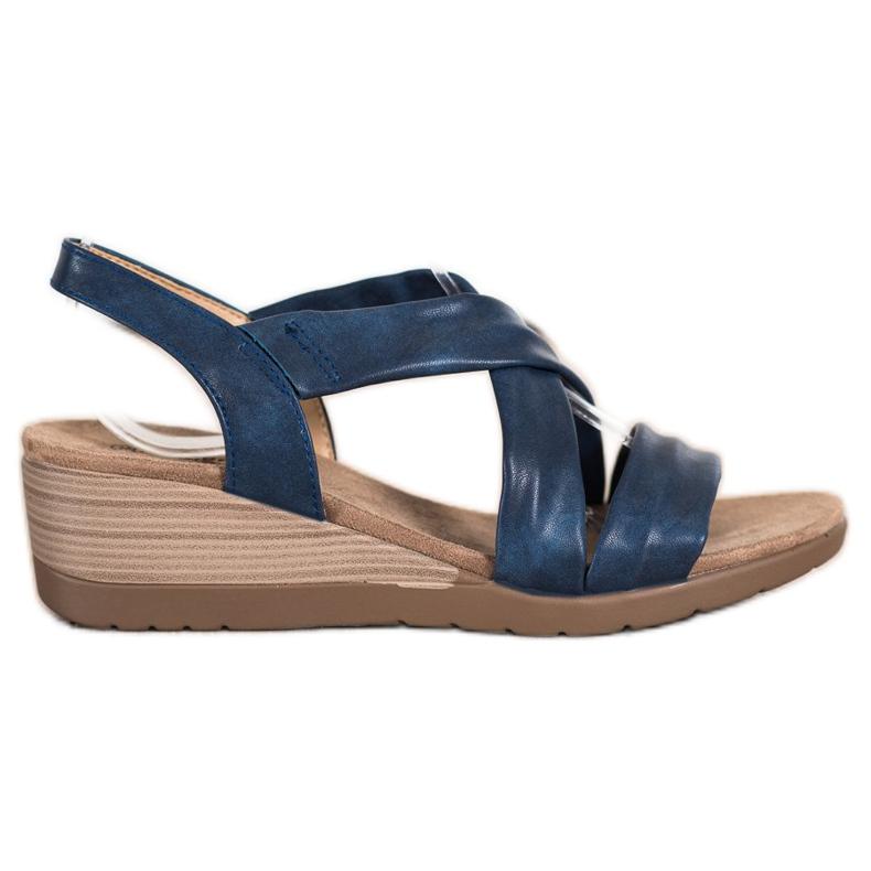 S. BARSKI Wsuwane Sandały Na Koturnie S.BARSKI niebieskie