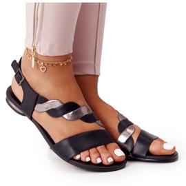Skórzane Sandały Vinceza 21-17117 Czarno-Srebrne czarne srebrny