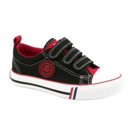 American Trampki Dziecięce Na Rzepy American Club LH61 Czarno-Czerwony czarne czerwone