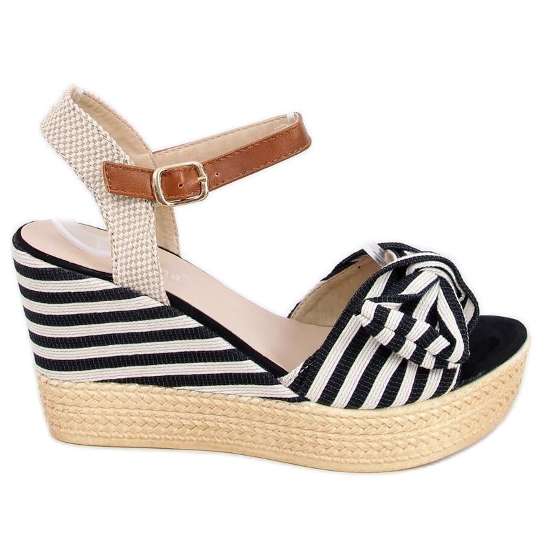 Sandałki na koturnie w paski czarne A89907 Black beżowy brązowe