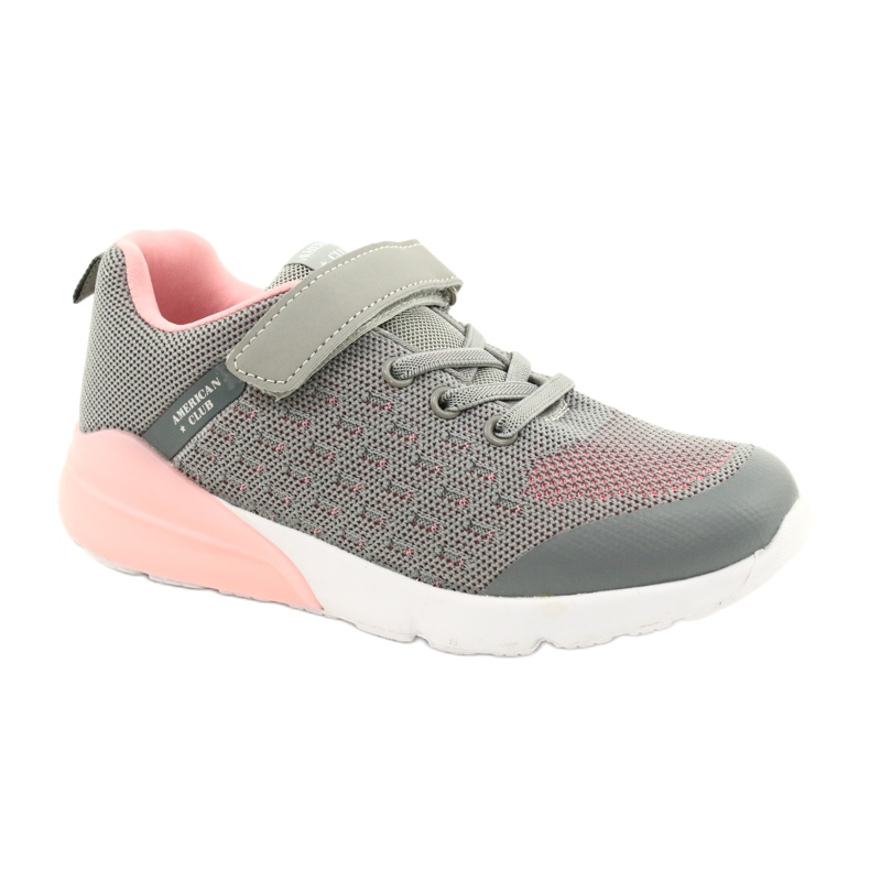 American Club Dziewczęce Buty Sportowe Na Rzep RL11 Szare-Różowe