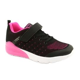 American Club Dziewczęce Buty Sportowe Na Rzep RL11 Czarne/Różowe