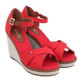 Sandałki na koturnie czerwone BL-70 Red