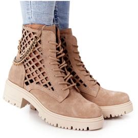 Ażurowe Botki Workery Lewski Shoes 3030-0 Piaskowe brązowe