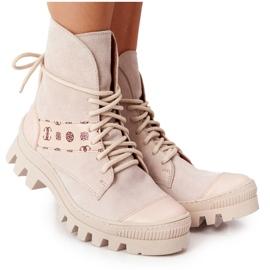 Zamszowe Botki Workery Lewski Shoes 2942-0 Jasny Beż beżowy