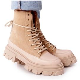 Zamszowe Botki Workery Lewski Shoes 3007-0 Piaskowe beżowy wielokolorowe