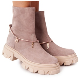 Zamszowe Botki Workery Lewski Shoes 3006-0 Beżowe beżowy