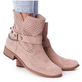 Ażurowe Wiosenne Botki Lewski Shoes 2905-0 Beżowe beżowy