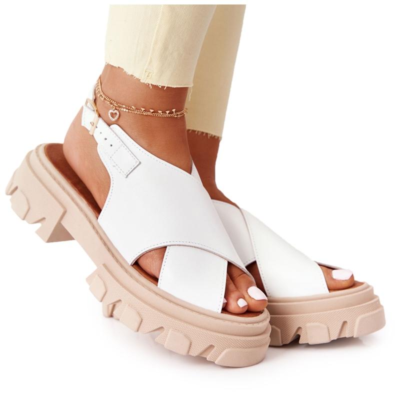 Skórzane Sandały Na Platformie Lewski Shoes 3018-0 Białe