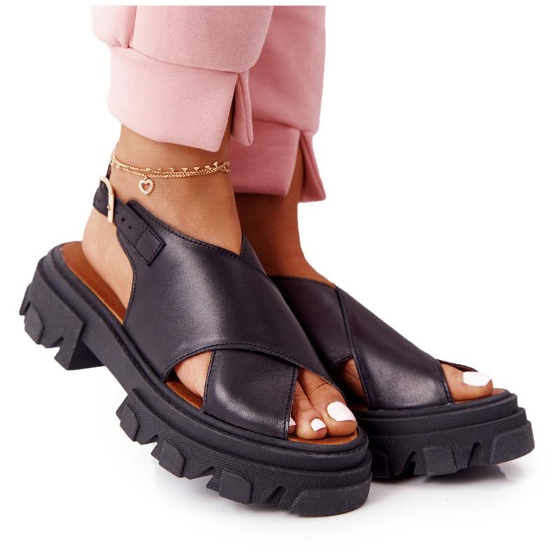 Skórzane Sandały Na Platformie Lewski Shoes 3018-0 Czarne