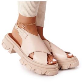 Skórzane Sandały Na Platformie Lewski Shoes 3018-0 Beżowe beżowy