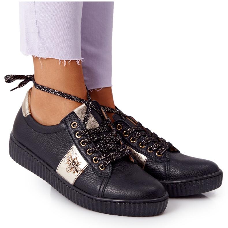 Damskie Skórzane Tenisówki Lewski Shoes 2786-0 Czarno-Złote czarne złoty