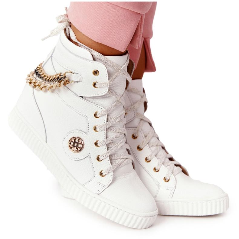 Skórzane Sneakersy Na Koturnie Lewski Shoes 3004-0 Białe