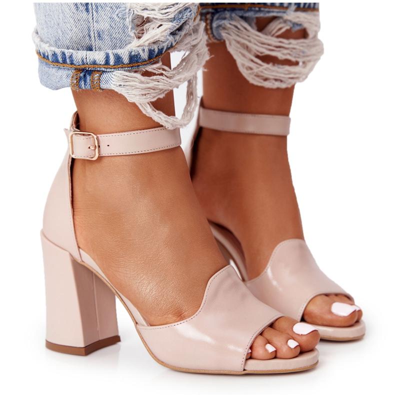 PV3 Skórzane Sandały Na Słupku Visconi 4361537 Nude beżowy różowe