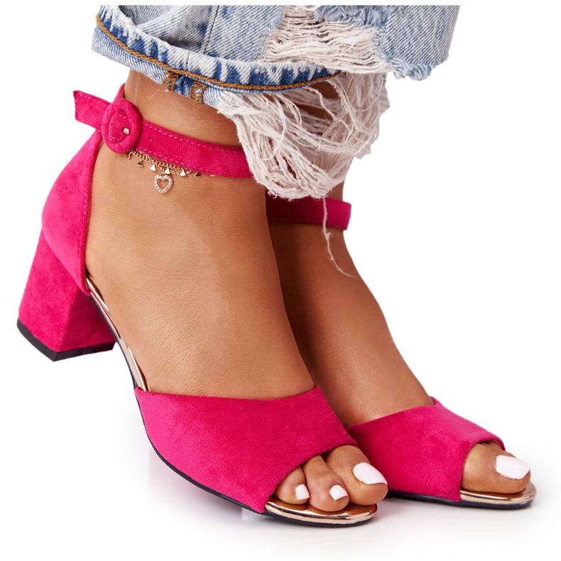 Zamszowe Sandały Na Obcasie Vinceza 21-20100 Fuksja różowe