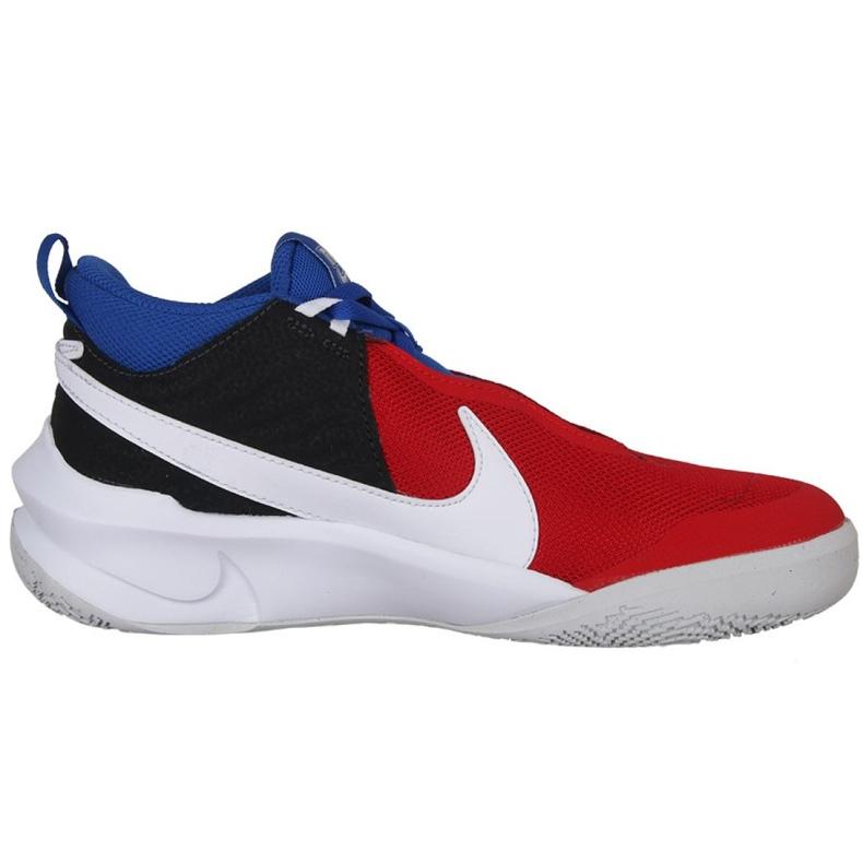 Buty do koszykówki Nike Team Hustle D 10 Big Basketball Shoe Jr CW6735 005 czerwony, biały, czerwony, granatowy czerwone