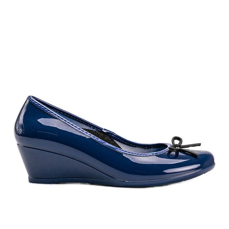 Niebieskie balerinki meliski na koturnie Garett