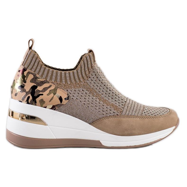 ARTIKER Wsuwane Sneakersy Moro Print brązowe