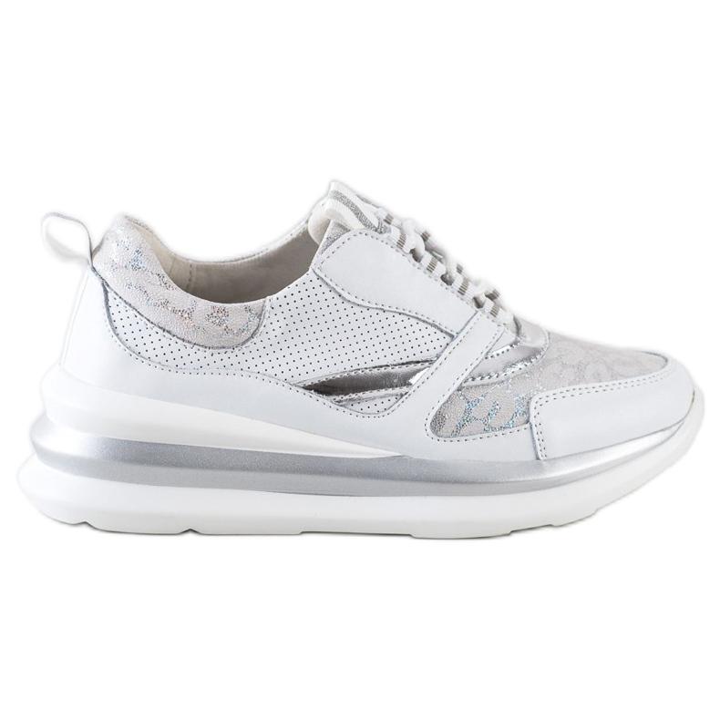 ARTIKER Biało-szare Sneakersy Ze Skóry białe