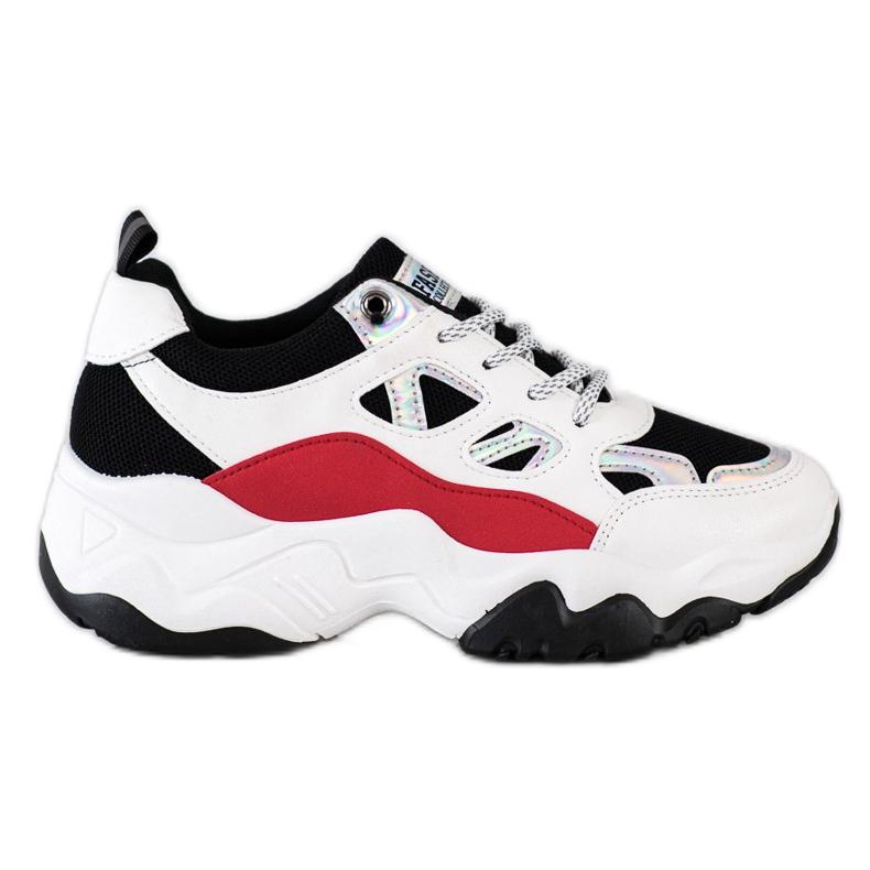 SHELOVET Sznurowane Sneakersy Fashion białe czarne czerwone srebrny