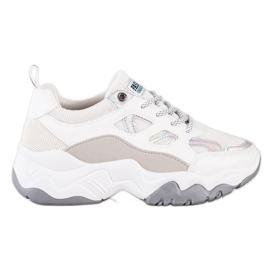 SHELOVET Sznurowane Sneakersy Fashion białe szare