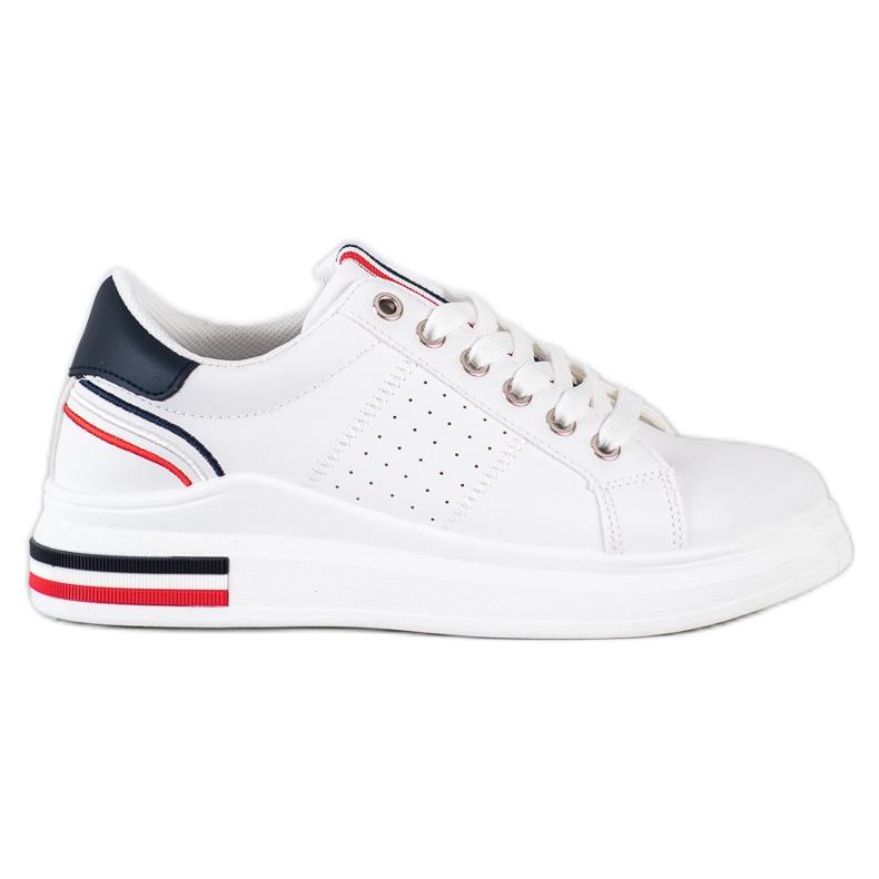 SHELOVET Sneakersy Z Eko Skóry białe czerwone granatowe