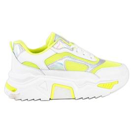SHELOVET Sneakersy Na Platformie Z Siateczką białe wielokolorowe zielone