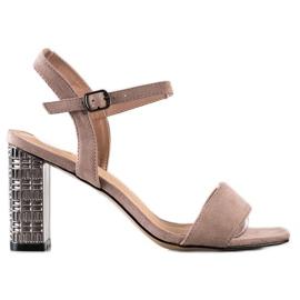 S. BARSKI Kalsyczne Sandały Z Ozdobnym Obcasem beżowy
