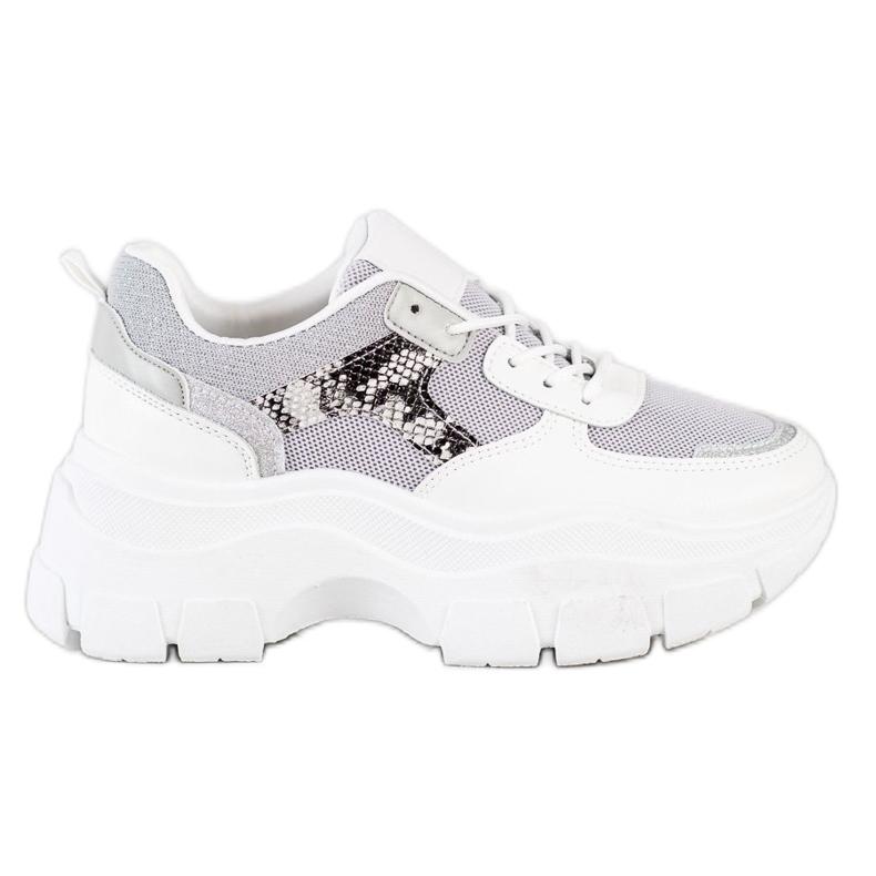 SHELOVET Stylowe Sneakersy Z Brokatem białe srebrny szare