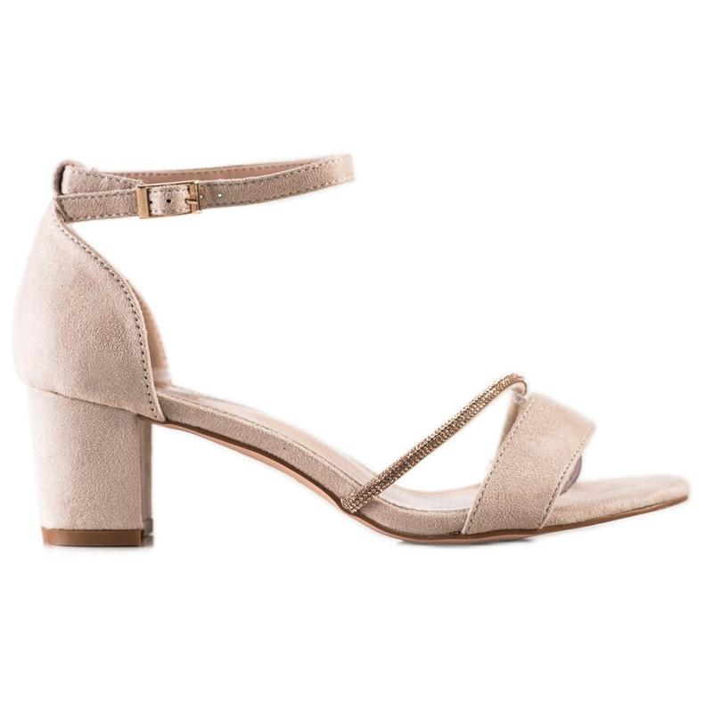 Goodin Eleganckie Sandały Z Cyrkoniami beżowy złoty
