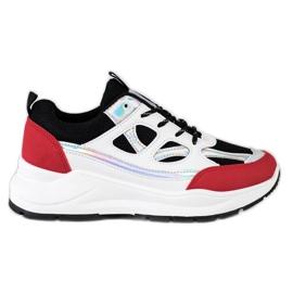SHELOVET Stylowe Sneakersy białe czarne czerwone srebrny
