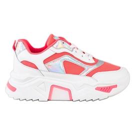 SHELOVET Sneakersy Na Platformie Z Siateczką białe czerwone