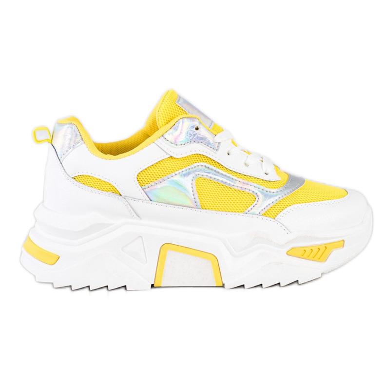 SHELOVET Sneakersy Na Platformie Z Siateczką białe srebrny żółte